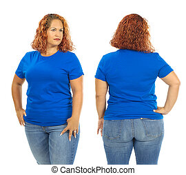 Woman wearing blank blue shirt front and back