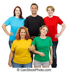 People wearing different colored blank shirts