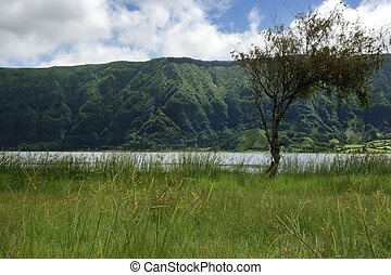 calm beautiful landscape Blue Lake or Lagoa Azul in Sete...