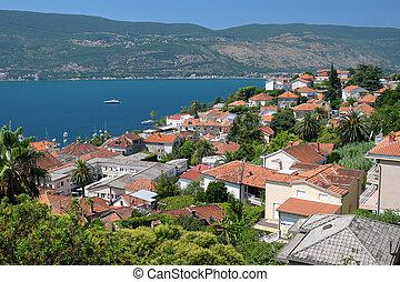 View of town Herceg Novi in Bay of Kotor, Montenegro