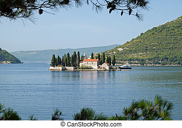 Island of Saint George off coast of Perast in Bay of Kotor,...