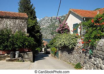 Street in town of Risan, Montenegro