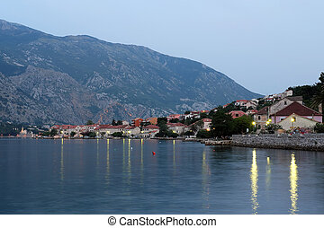Evening view of town Prcanj in Bay of Kotor, Montenegro