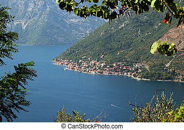 View of town Perast from mount Vrmac, Bay of Kotor,...
