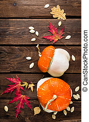 autumn background with leaves and pumpkins, thanksgiving and...