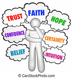Trust Faith Hope Confidence Thinking Person Thought Clouds...