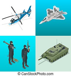 Isometric icons helicopter, aircraft, tank, soldiers. Flat...