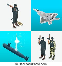 Isometric icons submarine, aircraft, tanks, soldiers. Flat...