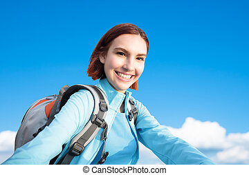 happy woman mountain hiker