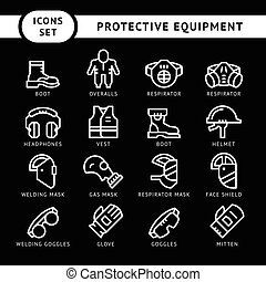 Set line icons of protecting equipment isolated on black....