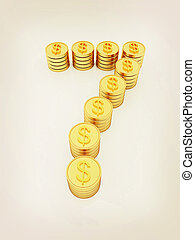 """the number """"seven"""" of gold coins with dollar sign. 3D illustration. Vintage style."""