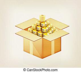 Gold dollar coins in cardboard box. 3D illustration. Vintage...