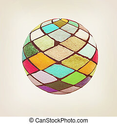 Mosaic ball 3D illustration Vintage style - Mosaic ball on...