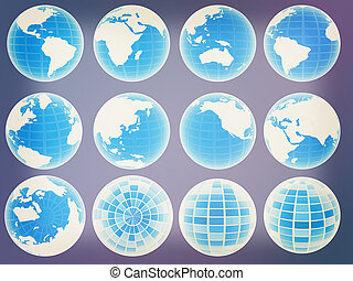 Set of 3d globe icons showing earth with all continents. 3D illustration. Vintage style.