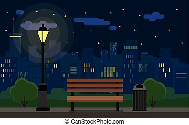 Night Cityscape and bench