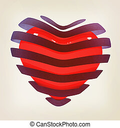 3d beautiful red glossy heart of the bands 3D illustration...