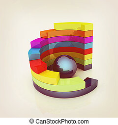 Abstract colorful structure with blue bal in the center 3D...