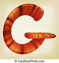"""Wooden Alphabet. Letter """"G"""" on a white. 3D illustration...."""