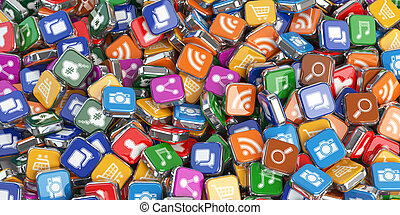 Smartphone apps Application internet software icons...