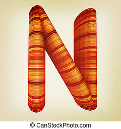 """Wooden Alphabet. Letter """"N"""" on a white. 3D illustration...."""