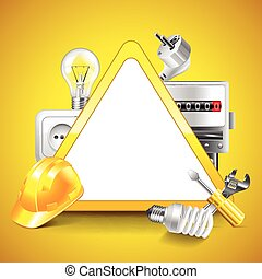 Electricity tools around warning triangle vector background
