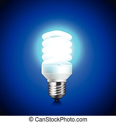 Energy saving light bulb glowing on dark background vector -...
