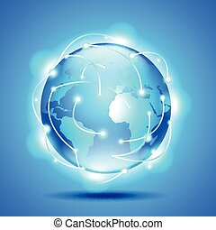 Glowing earth globe on blue background vector