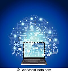 Laptop and network icons on blue background vector