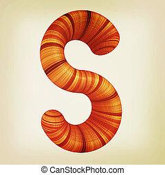 """Wooden Alphabet. Letter """"S"""" on a white. 3D illustration...."""