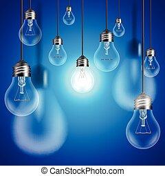 Light bulbs on blue background vector