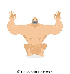 Muscled meditating Bodybuilder on white background Status of...