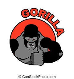 Gorilla shows well. Sign all right. Thumbs up. Hand showing ok. Gesture of hand. Angry Monkey with big muscles. Aggressive wild animal. Logo for sports team