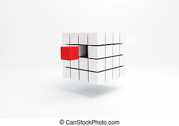 cubic shape - 3d illustration of a cubic shape isolated on...