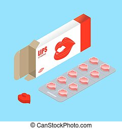 Vitamins Lips in pack. Lip augmentation pills. Tablets in box. Natural beauty products in form of kiss. Womens Medicine. Medical drugs