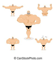 Muscled set poses. Expression of emotions athlete. Evil and...