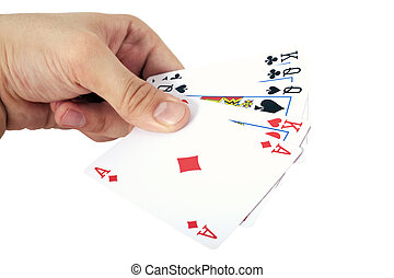 Hand and playing cards isolated on white background