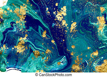 Marbled blue abstract background. Liquid marble pattern....