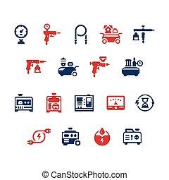 Conjunto, iconos, de, eléctrico, generador, y, Aire,...