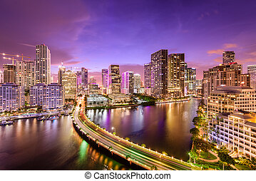 Miami, Florida Night Skyline - Miami, Florida, USA downtown...