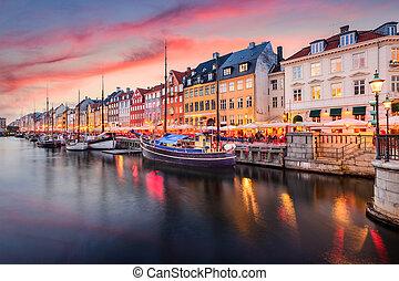 Copenhagen, Denmark at Nyhavn Canal - Copenhagen, Denmark on...