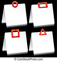Set of sheets of paper as note pads with  red barrettes, vector illustration