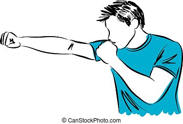 man kick boxing movement fitness illustration