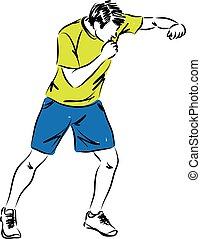 man work out kick boxing illustration