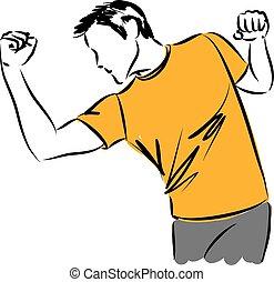 man stretching kick boxing illustration