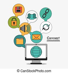connect communications social network icon