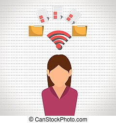 woman wifi file document