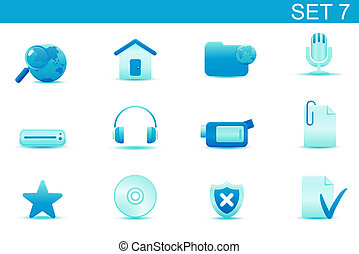icon set - Vector illustration u2013 set of blue elegant...