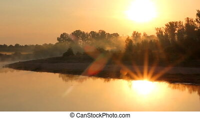 landscape with sunrise over river - beauty landscape with...
