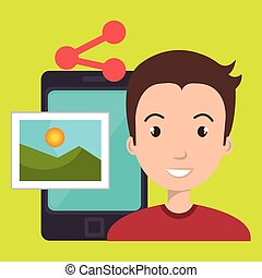 character sharing smartphone image vector illustration...