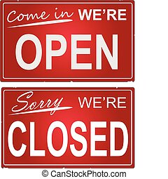 Open and Closed Signs - Image of a business open and closed...
